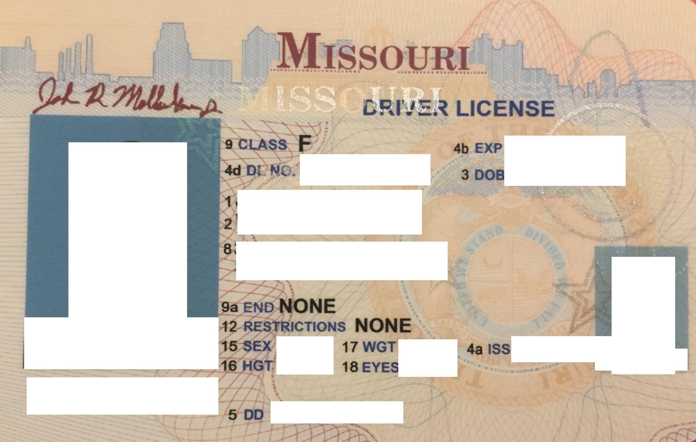 iss on missouri drivers license